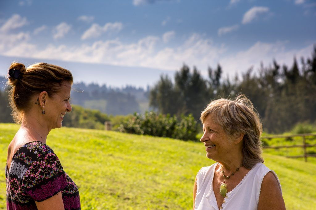 Therapist and client in outdoor session at opioid and opiate treatment center
